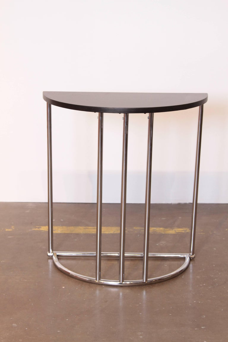 Machine Age Art Deco Demilune Console Table, Royalchrome Distinctive Furniture, Royal Metal  This one is built like a tank and in near pristine restored condition. Royalchrome Distinctive Furniture, Royal Metal 1937 Catalog, Model No. 340 End Table.