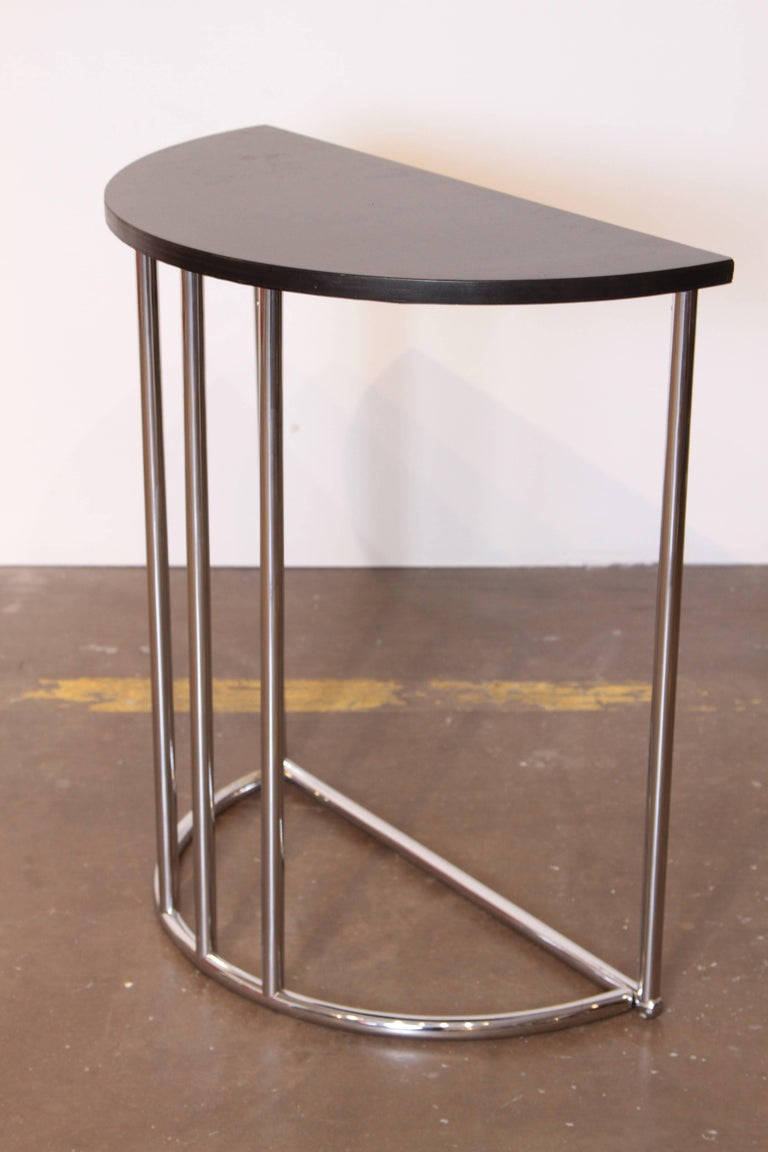 American Machine Age Art Deco Demilune Console Table, Royalchrome Royal Metal For Sale