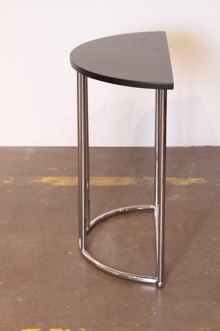 Lacquered Machine Age Art Deco Demilune Console Table, Royalchrome Royal Metal For Sale