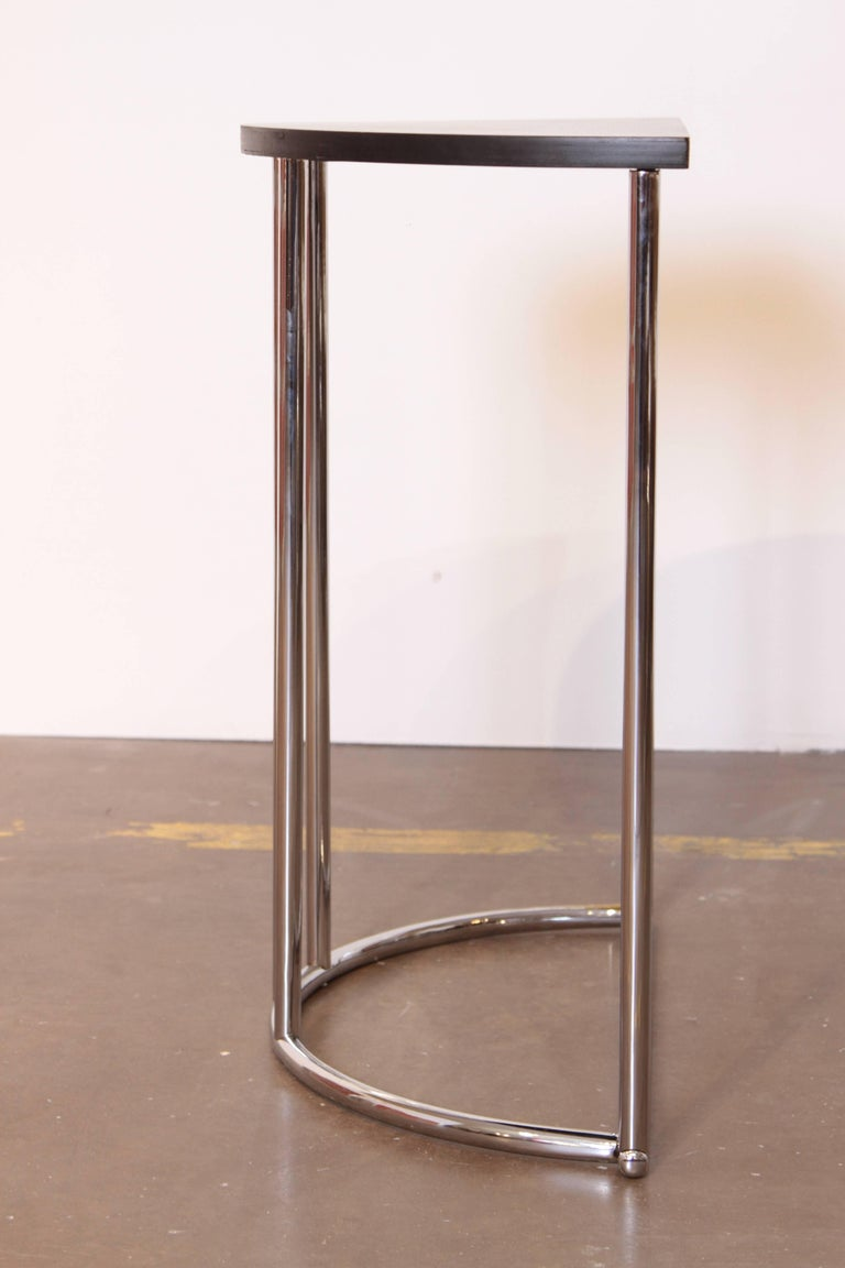Machine Age Art Deco Demilune Console Table, Royalchrome Royal Metal In Good Condition For Sale In Dallas, TX