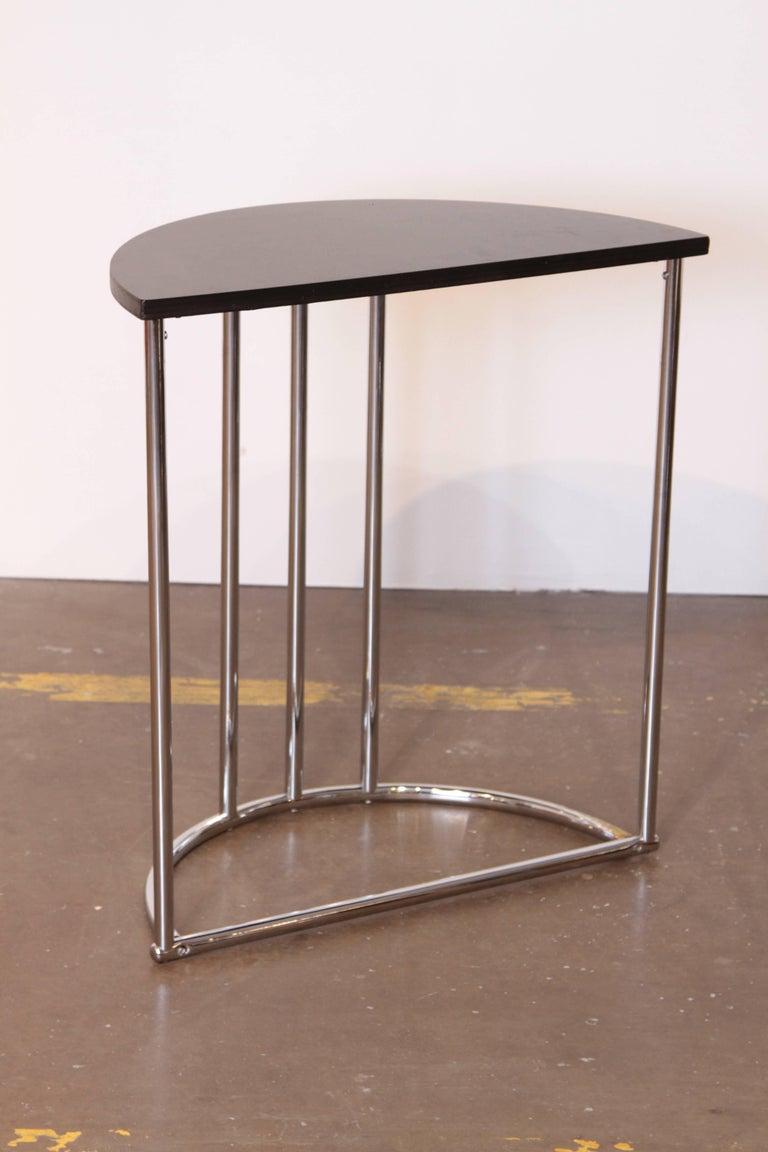 Mid-20th Century Machine Age Art Deco Demilune Console Table, Royalchrome Royal Metal For Sale