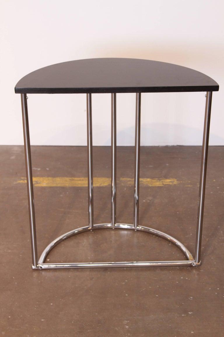 Wood Machine Age Art Deco Demilune Console Table, Royalchrome Royal Metal For Sale