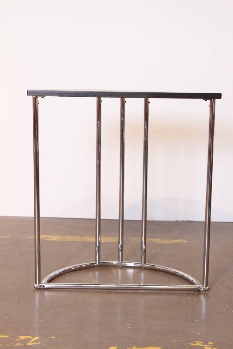 Machine Age Art Deco Demilune Console Table, Royalchrome Royal Metal For Sale 1