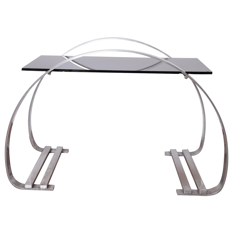 Machine Age Art Deco Flat Band Aluminum and Vitrolite Cocktail Table Deskey