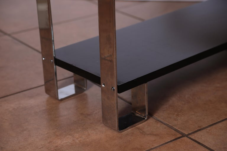 Machine Age Art Deco Flat, Band Chrome Shelf, in the Manner of Donald Deskey For Sale 4
