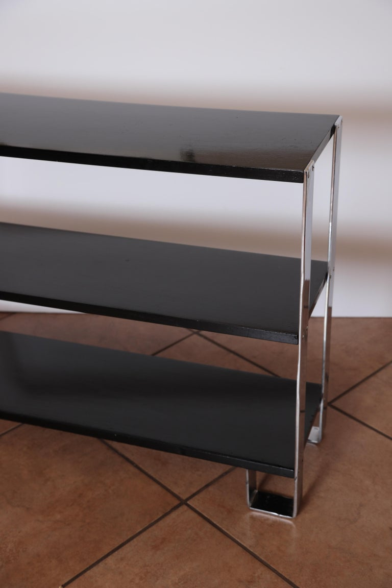 Machine Age Art Deco Flat, Band Chrome Shelf, in the Manner of Donald Deskey For Sale 5