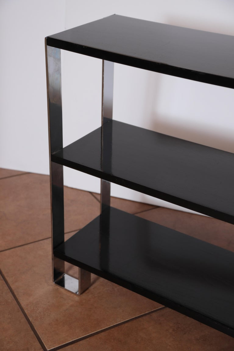 Machine Age Art Deco Flat, Band Chrome Shelf, in the Manner of Donald Deskey For Sale 6