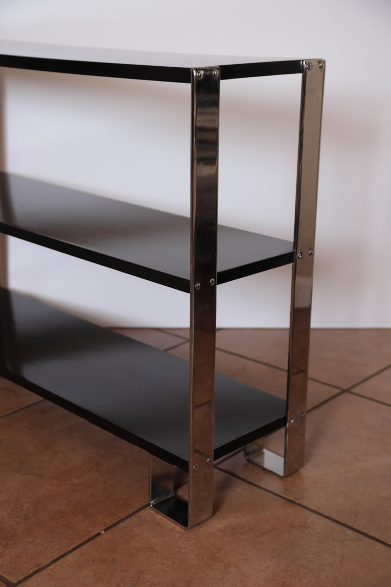 Machine Age Art Deco Flat, Band Chrome Shelf, in the Manner of Donald Deskey In Good Condition For Sale In Dallas, TX
