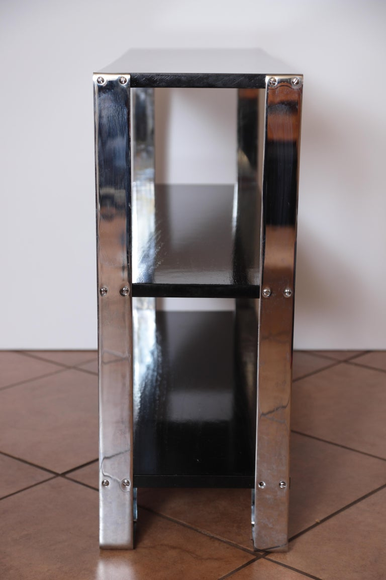 Mid-20th Century Machine Age Art Deco Flat, Band Chrome Shelf, in the Manner of Donald Deskey For Sale