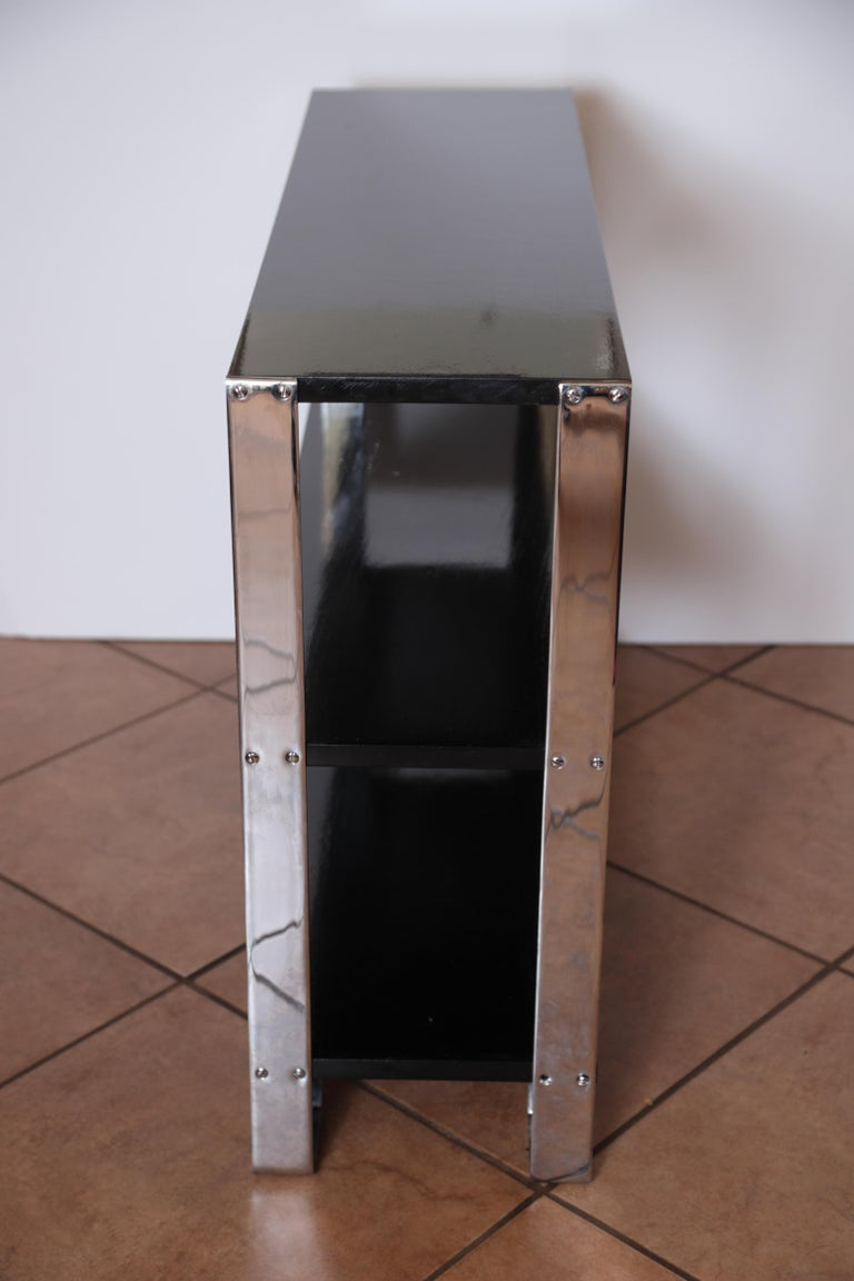 Machine Age Art Deco Flat, Band Chrome Shelf, in the Manner of Donald Deskey For Sale 1