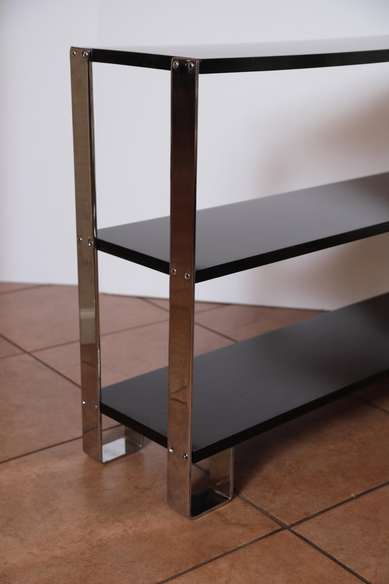 Machine Age Art Deco Flat, Band Chrome Shelf, in the Manner of Donald Deskey For Sale 3
