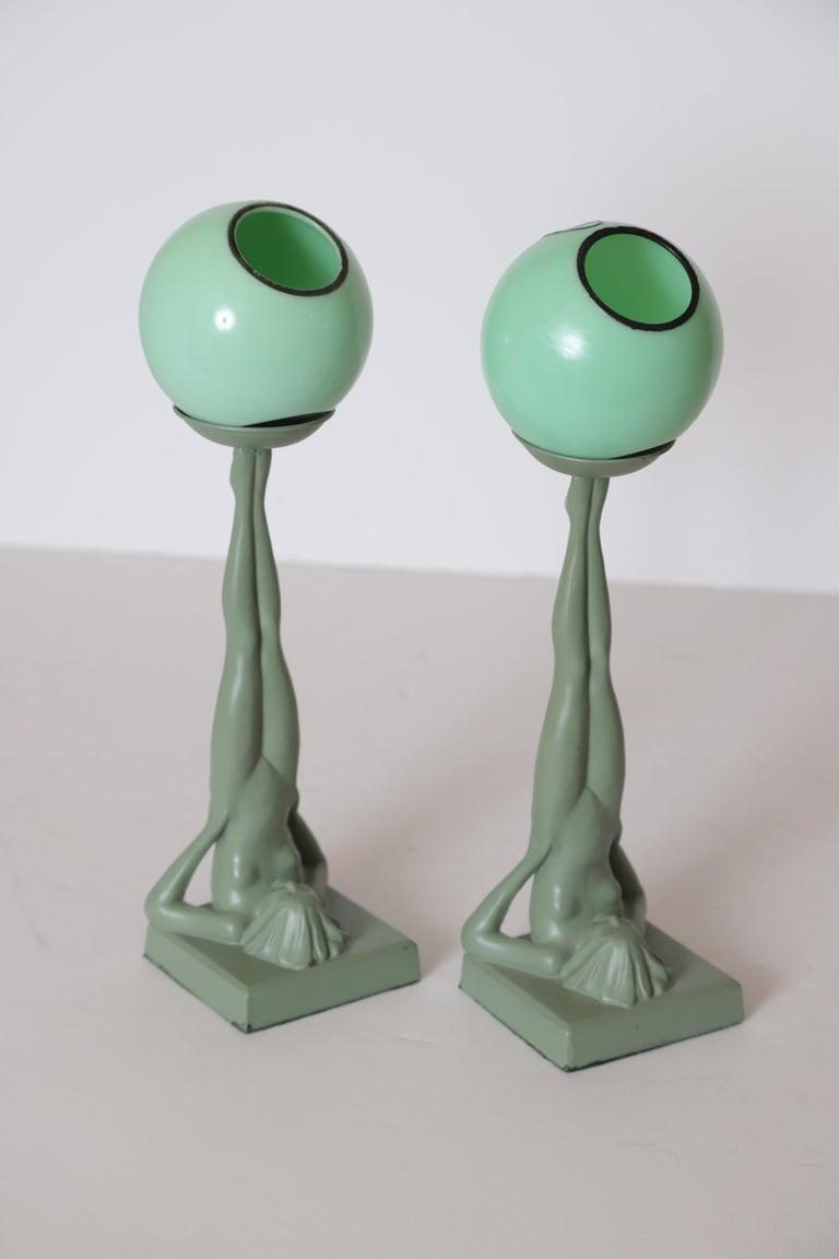 Machine Age Art Deco Frankart Pair of Ash Receivers # T325 Nude Sculpture For Sale 5