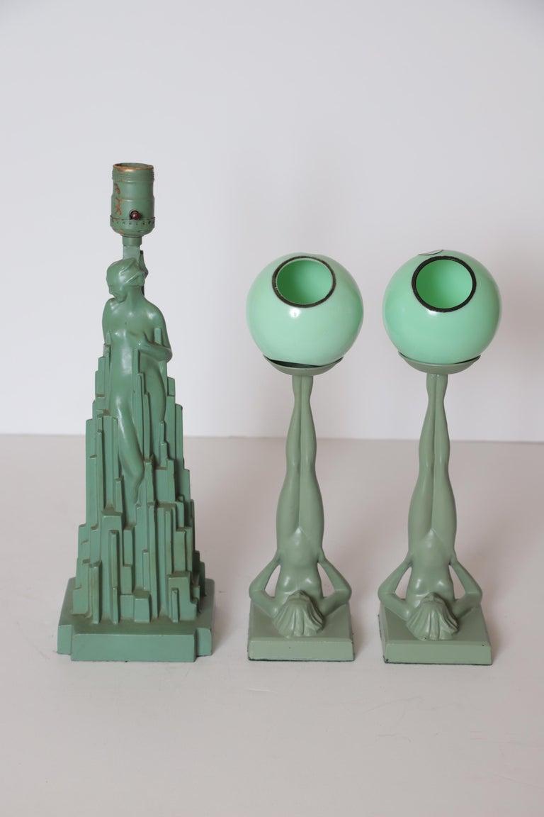 Machine Age Art Deco Frankart Pair of Ash Receivers # T325 Nude Sculpture For Sale 13