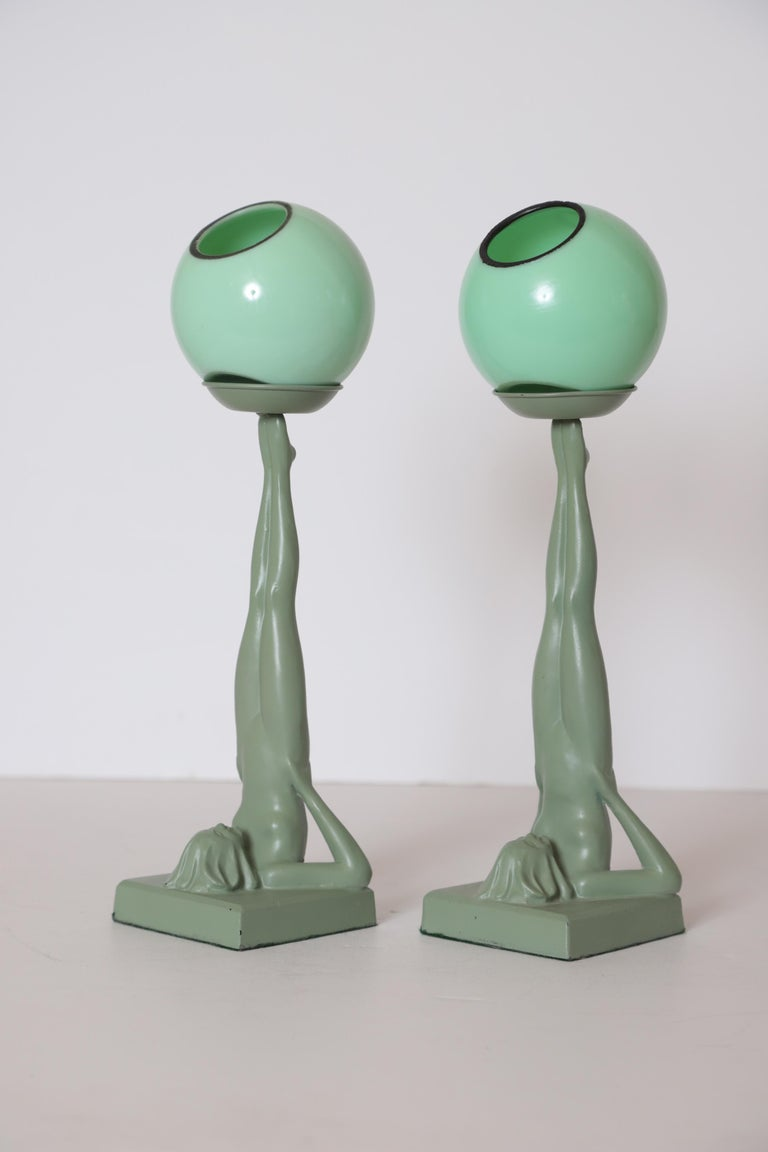 American Machine Age Art Deco Frankart Pair of Ash Receivers # T325 Nude Sculpture For Sale