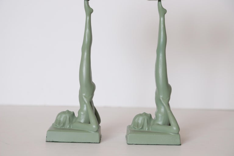 Mid-20th Century Machine Age Art Deco Frankart Pair of Ash Receivers # T325 Nude Sculpture For Sale