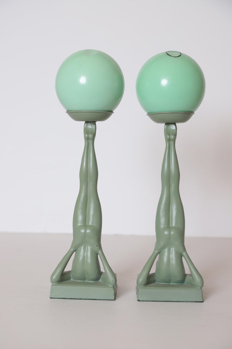 Machine Age Art Deco Frankart Pair of Ash Receivers # T325 Nude Sculpture For Sale 1