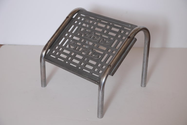 Machine Age Art Deco Helene Curtis Ottoman Stool Footstool Original Beauty Shop In Fair Condition For Sale In Dallas, TX
