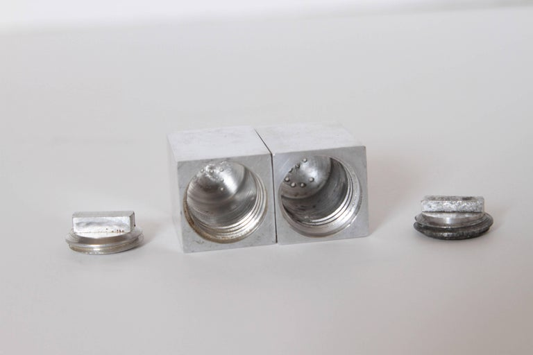 Polished Machine Age Art Deco Iconic Charles Sheeler Salt and Pepper Shaker Design, Pair For Sale
