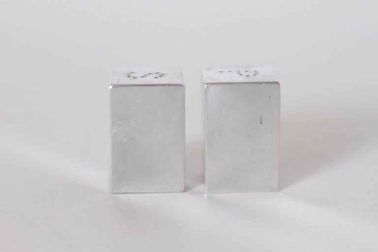Aluminum Machine Age Art Deco Iconic Charles Sheeler Salt and Pepper Shaker Design, Pair For Sale