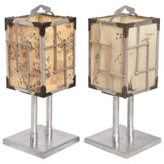 Machine Age Art Deco Japanese CPO Lamps by K.K. Yoshida Seisakusho, Silk Shades