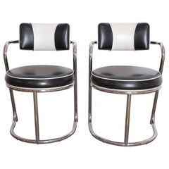 Machine Age Art Deco JAZZ Armchairs, Manner of Donald Deskey, Royalchrome, Pair