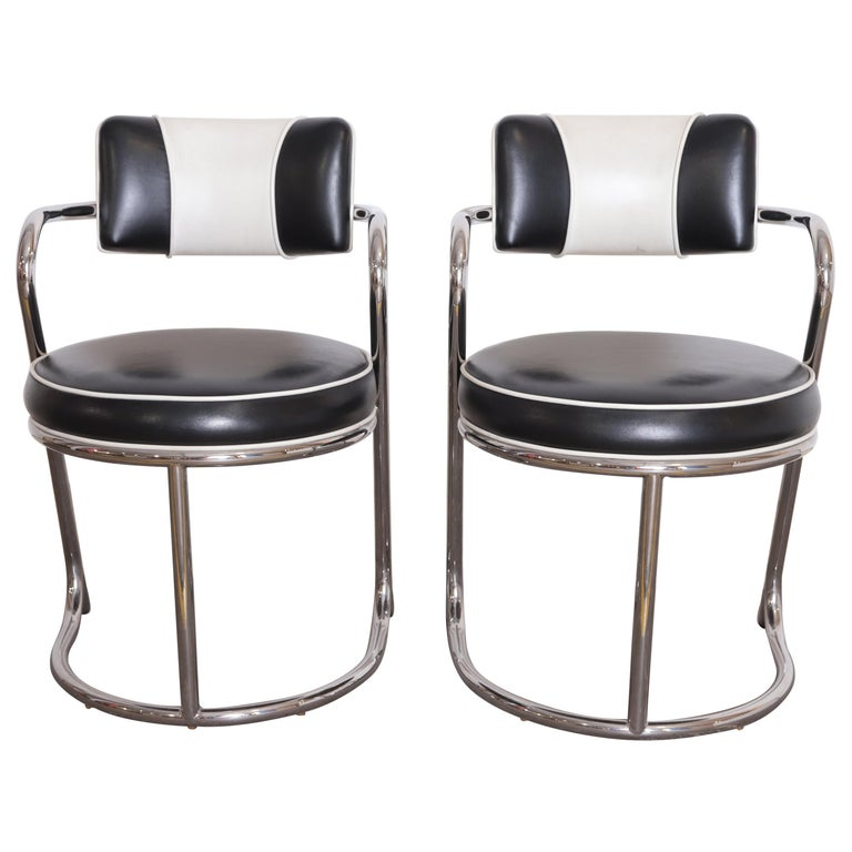 Machine Age Art Deco JAZZ Armchairs, Manner of Donald Deskey, Royalchrome, Pair For Sale