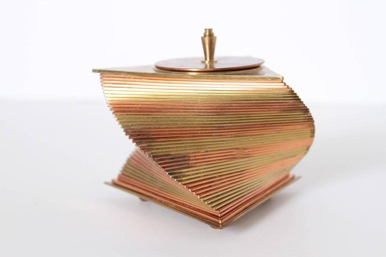 American Machine Age Art Deco John Nicholas Otar Stacked Modernist Cigarette Box For Sale