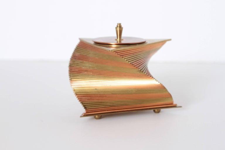Machine Age Art Deco John Nicholas Otar Stacked Modernist Cigarette Box In Good Condition For Sale In Dallas, TX