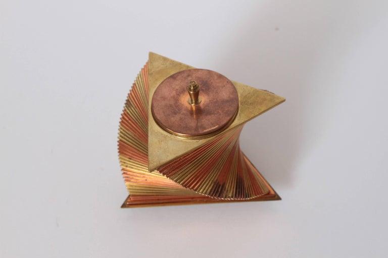 Brass Machine Age Art Deco John Nicholas Otar Stacked Modernist Cigarette Box For Sale