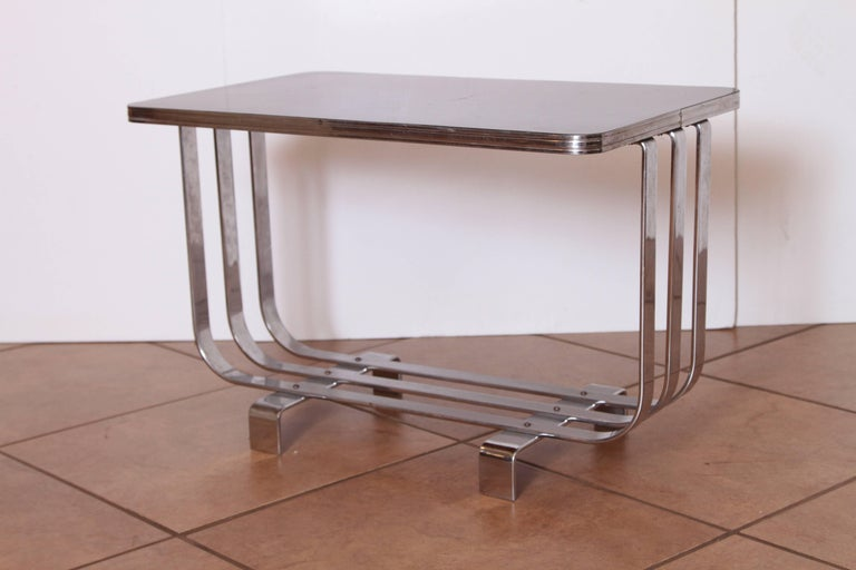 Machine Age Art Deco KEM Weber Lloyd Chromium Furniture Cocktail Table, Lloyd's For Sale 4