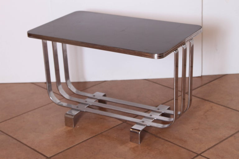 Machine Age Art Deco KEM Weber Lloyd chromium furniture coffee or cocktail table, Lloyd's  PRICE REDUCED  Featured profusely in 1938 Lloyd chromium furniture catalog, along with several identified KEM Weber group designs.  Model # T - 255, triple