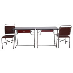 Machine Age Art Deco Lloyd Chromium Furniture Desk Set, Two Desks / Two Chairs