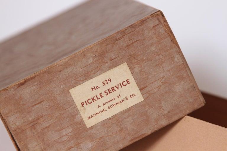 Machine Age Art Deco Manning Bowman Pickle Service Original Box Unused For Sale 2