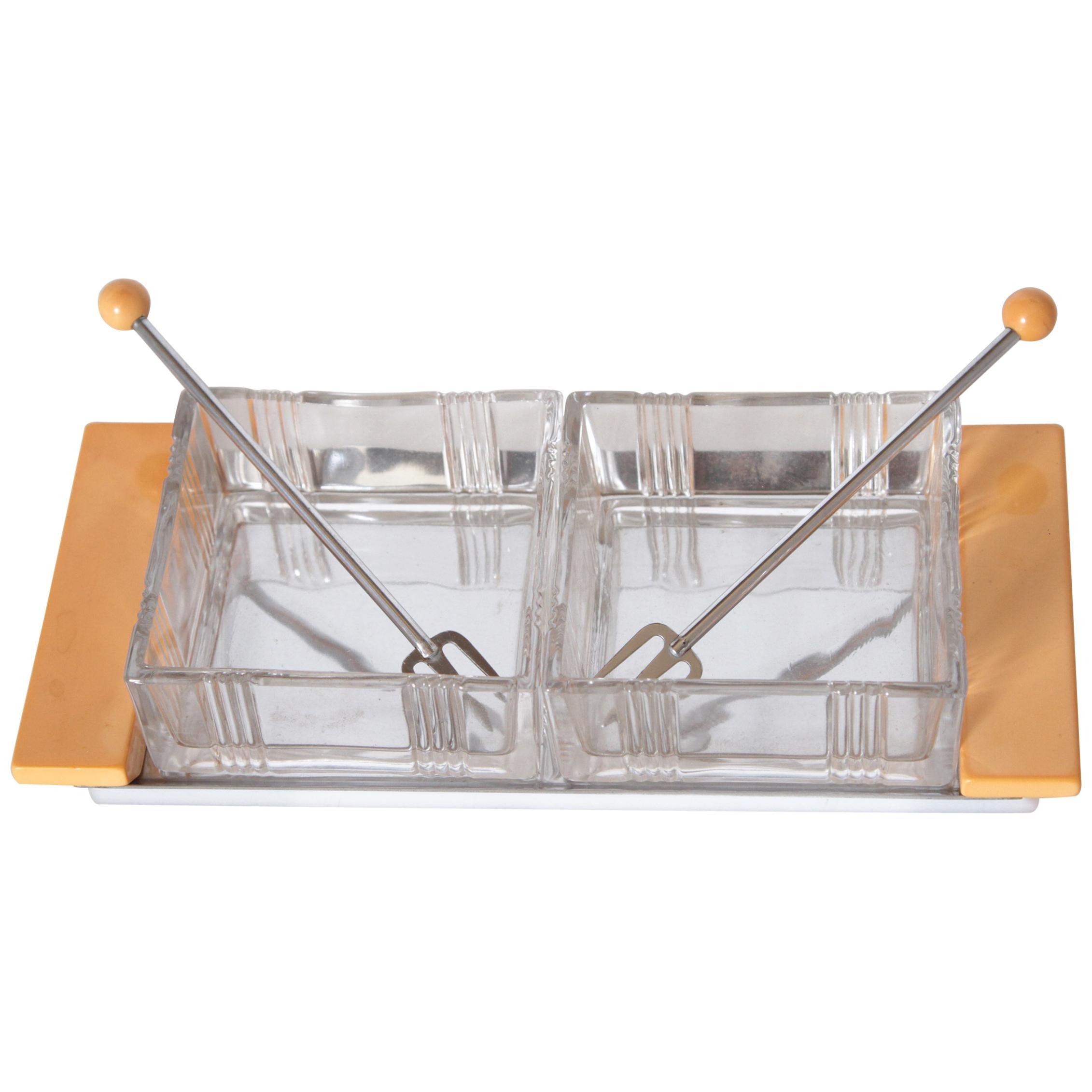 Machine Age Art Deco Manning Bowman Pickle Service Original Box Unused