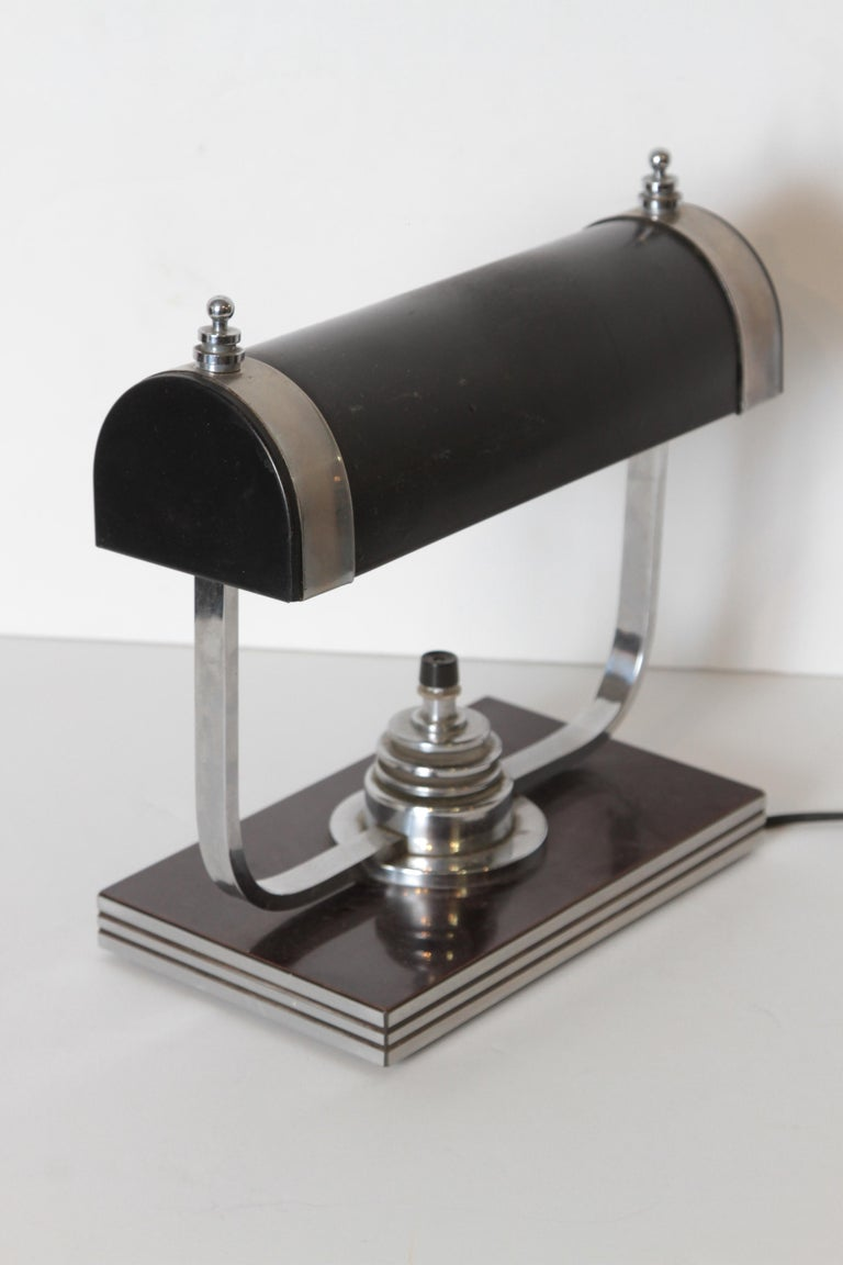 American Machine Age Art Deco Markel Table Lamp For Sale
