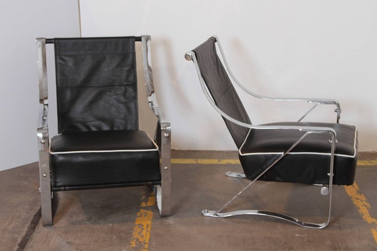 Machine Age Art Deco McKay Craft Streamline Pair of Cantilevered Lounge Chairs For Sale 3