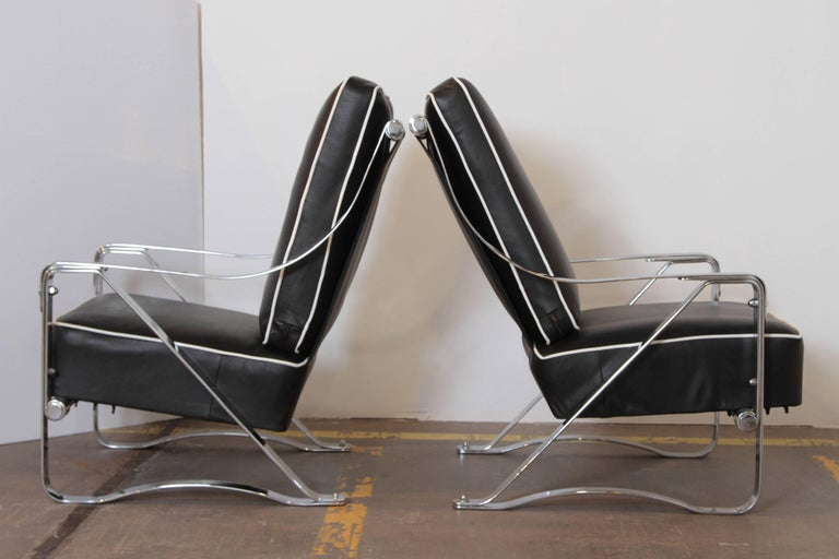 Plated Machine Age Art Deco McKay Craft Streamline Pair of Cantilevered Lounge Chairs For Sale