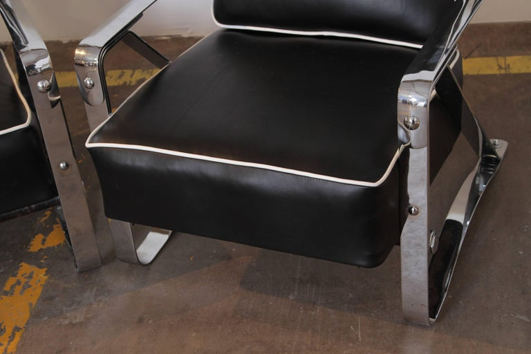 Machine Age Art Deco McKay Craft Streamline Pair of Cantilevered Lounge Chairs For Sale 2