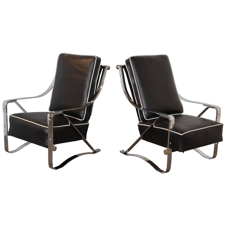 Machine Age Art Deco McKay Craft Streamline Pair of Cantilevered Lounge Chairs For Sale