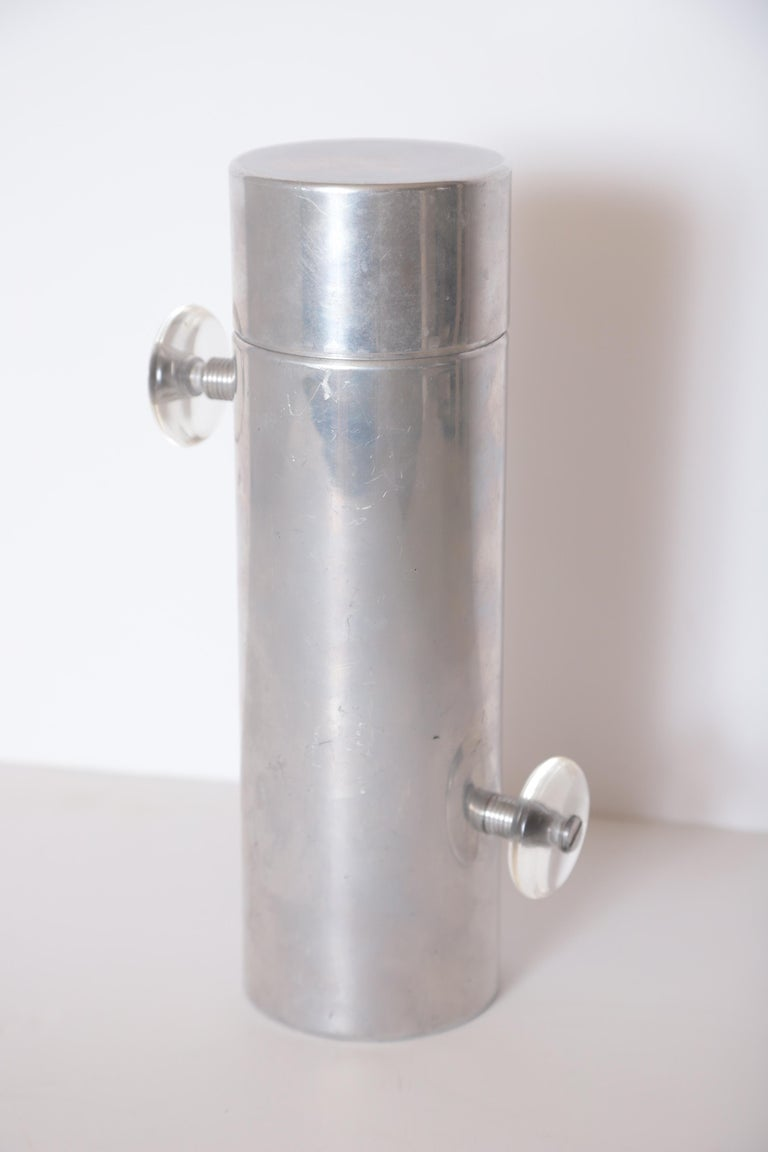 Machine Age Art Deco Mid Century Konga Cocktail Shaker by Kromex  Lucite Handles For Sale 9