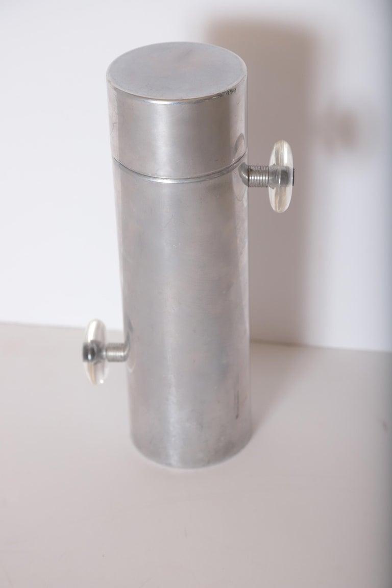 Machine Age Art Deco Mid Century Konga Cocktail Shaker by Kromex  Lucite Handles  Midcentury Mid-Century  polished Aluminum, Plexiglas  Iconic Polished Aluminum shaker with unique
