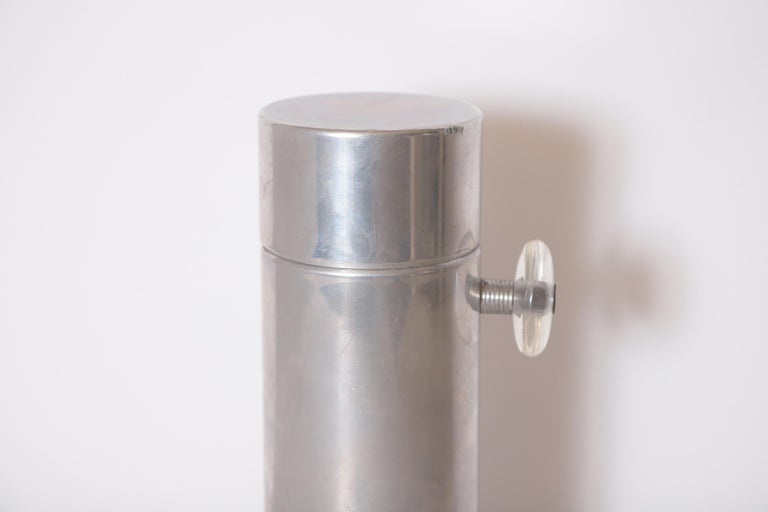 American Machine Age Art Deco Mid Century Konga Cocktail Shaker by Kromex  Lucite Handles For Sale