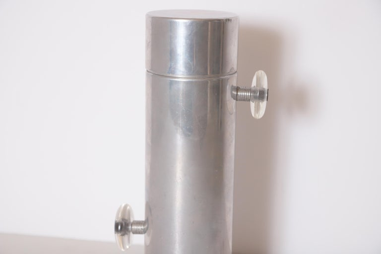 Machine Age Art Deco Mid Century Konga Cocktail Shaker by Kromex  Lucite Handles In Good Condition For Sale In Dallas, TX