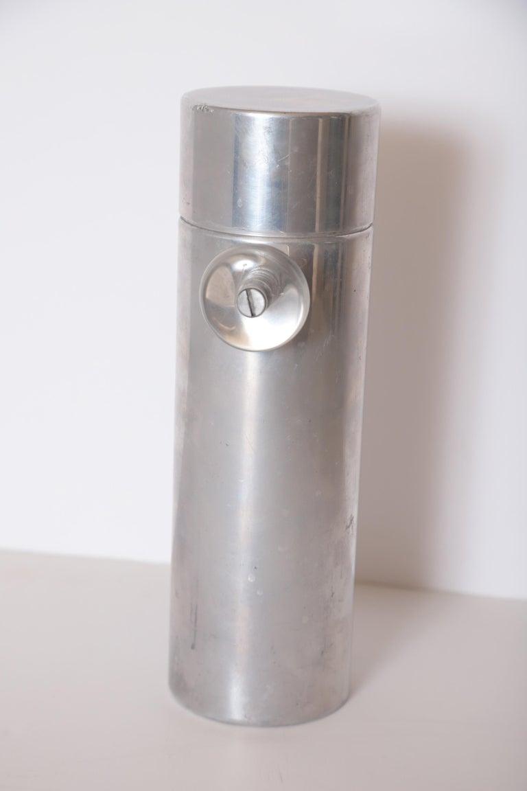 Aluminum Machine Age Art Deco Mid Century Konga Cocktail Shaker by Kromex  Lucite Handles For Sale