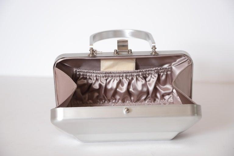 Machine Age Art Deco New Yorker Aluminum Purse Alcoa Alumilite Pre Kate Spade For Sale 7