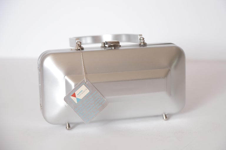 Mid-Century Modern Machine Age Art Deco New Yorker Aluminum Purse Alcoa Alumilite Pre Kate Spade For Sale