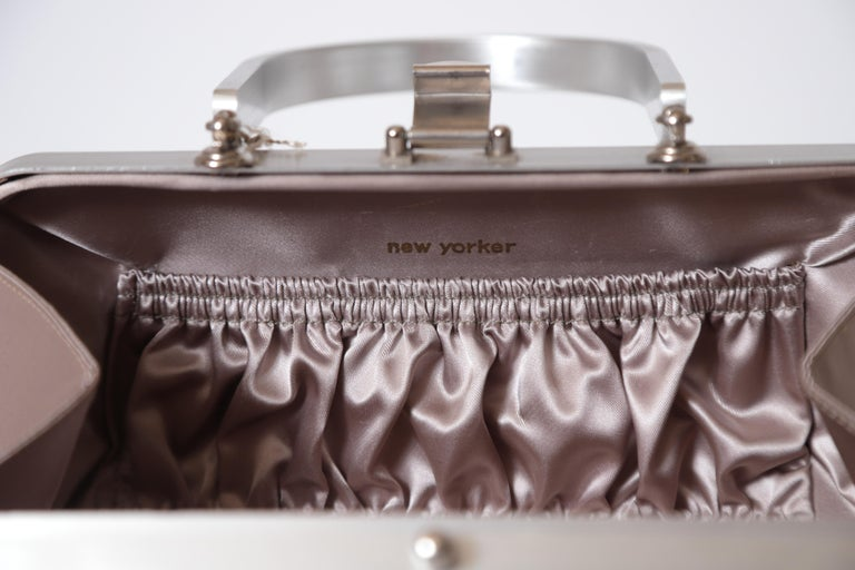 Mid-20th Century Machine Age Art Deco New Yorker Aluminum Purse Alcoa Alumilite Pre Kate Spade For Sale