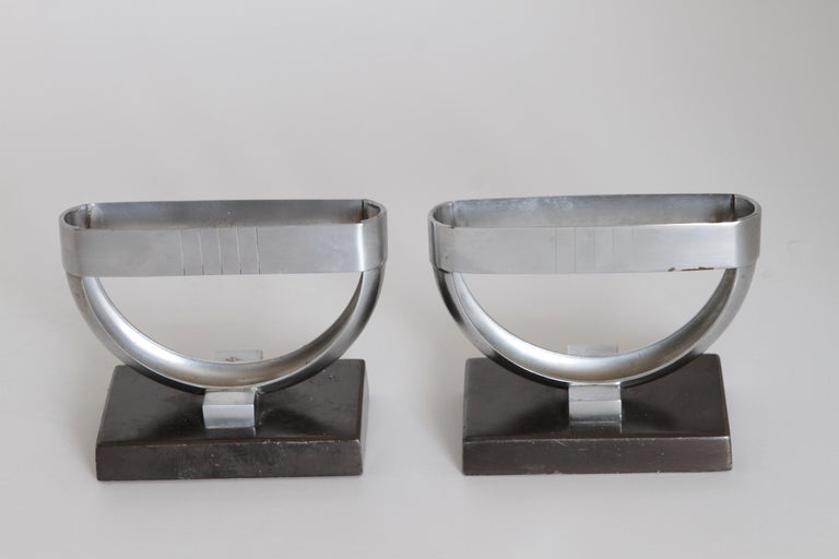 Machine Age Art Deco Norman Bel Geddes Pair Revere Crescent Candlestick Holders  Designed for