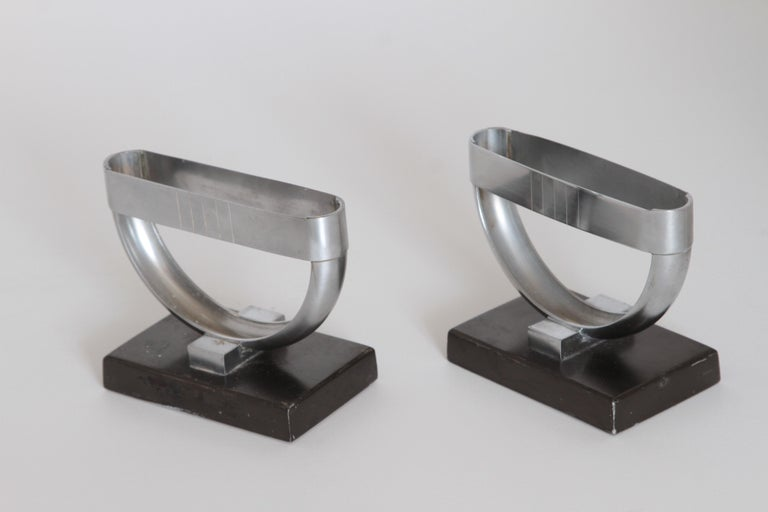 American Machine Age Art Deco  Norman Bel Geddes Pair Revere Crescent Candlestick Holders For Sale