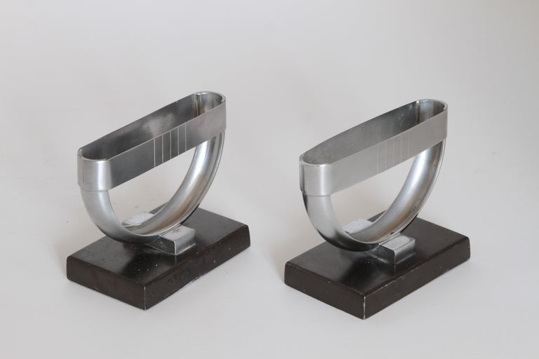 Machine Age Art Deco  Norman Bel Geddes Pair Revere Crescent Candlestick Holders In Good Condition For Sale In Dallas, TX
